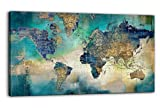 Large World Map Canvas Prints Wall Art for Living Room Office'24x48' Green World Map Picture Artwork Decor for Home Decoration
