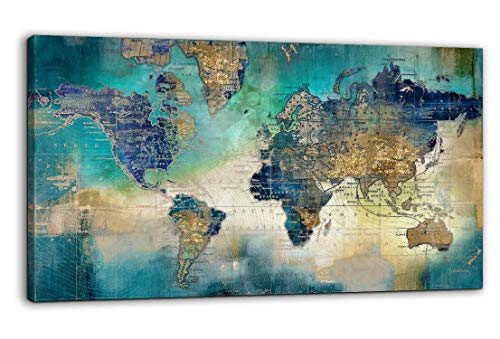 Large World Map Canvas Prints Wall Art for Living Room Office '24x48' Green World Map Picture Artwork Decor for Home Decoration