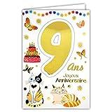 69-2109 Carte Joyeux Anniversaire 9 ans Enfant Garçon Fille - Chat Oiseaux Cadeaux