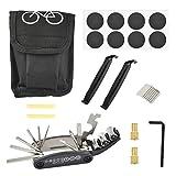 FOCCTS - Kit di strumenti di riparazione per bici, 16 in 1, multifunzione, strumenti multifunzionali, leve per pneumatici autoadesive incluse