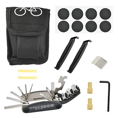 FOCCTS Kit de herramientas de reparación de bicicletas, 16 en 1, herramientas multifuncionales, palancas de neumáticos, parches autoadhesivos para tubos de neumáticos incluidos.