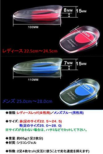 HIIRAGI(ヒイラギ)インソールヒールクッション2足4枚セットかかとソルボ衝撃吸収人体工学(メンズブルー簡易パッケージ版)