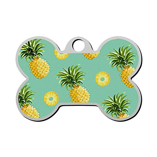 Reiligh Custom Tropical Pineapples Pet ID Tag Personalized Bone Shaped Dog Tags & Cat Tags 3D Printing Funny Humorous Graphic