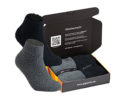 gigando Soft Socks Box voor dames, zachte knuffelsokken, met de hand afgewerkte sokken met ABS-rubberen zool, hoogwaardige afwerking, geschenkdoos, 2 paar
