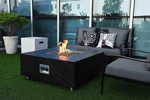 AMS Firepit | Sofia Marble Porcelain Fire Table | Natural Gas 17'' H x 39'' W x 39'' D
