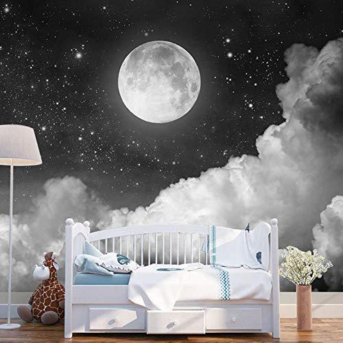 Foto Tapete Nacht Sternenhimmel Mond 250x175cm Non-Woven Wallpaper xxl Modern Wall Decoration Design Wall Decoration Living Room Bedroom Office Hallway