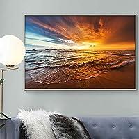 キャンバスビーチの夕日のプリント海景絵画ポスタースカンジナビアの壁アートリビングルームの写真家の装飾(40x60cm)フレームレス