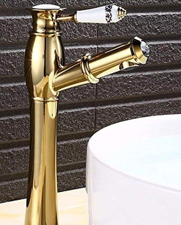 CFHJN Home Europischen Stil Retro Ziehen Warmen und Kalten Einhand-Loch Waschbecken Alle Kupfer Waschbecken Wasserhahn