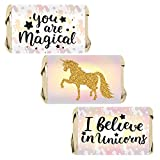 Magical Unicorn Party Favors - Mini Candy Bar Wrappers - 45 Stickers
