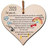 The Plum Pengu<span class='highlight'>in</span> Handmade Wooden Hang<span class='highlight'>in</span>g Heart Plaque Christmas Tree Bauble 2020 Year of Lockdown Funny Celebration Wall Hanger Decoration Family Friends