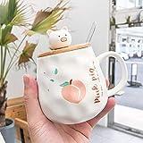 HPPSLT Taza de cerámica de té Divertido único, Taza guarra de melocotón Lindo Creativo con Cuchara de Tapa-4