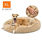 Best Choice Products Self-Warming Plush Shag Fur Donut Calming Pet Bed Cuddler w/Water-Resistant Lining - Brown