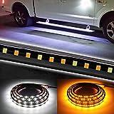Truck LED Running Board Light Amber Side Marker Kit with White Courtesy Lights for Extended & Crew Cab 2pcs...