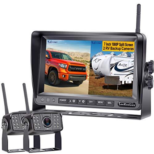 LeeKooLuu LK6 FHD 1080P Digital Wireless 2 Backup Cameras for RVs/Travel Trailers/Pickups/Trucks/Motorhomes 7'' Monitor IPS Split Screen Highway Observation System IP69K Waterproof IR Night Vision