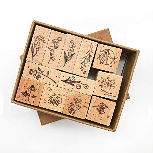 Floral Decorative Wood Rubber Stamps,ZMLSED 12pcs Vintage Nature Flower Leaves Wooden Stamps Multipurpose Pattern Mounted Stamps for Card Making DIY Arts Craft Planner Bullet Journal Scrapbooking