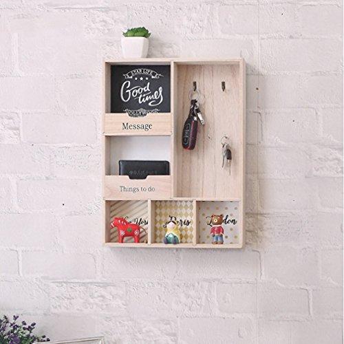 LSLS Caja de almacenamiento de la llave de estante flotante de estilo europeo con estante de pared de gancho sala de estar de la pared Decoración de la pared Pantalla (30 * 40 * 6cm) estantería de par
