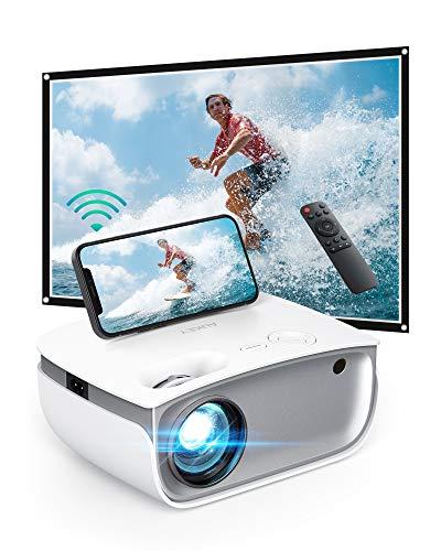 AUKEY Mini Proiettore Portatile, Videoproiettor Supporta 1080P Full HD, Proiettore WIFI 5500 Lumen, Proiettore Portatile per Telefono Compatibile con HDMI / AV / USB / Laptop / TV Stick