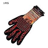 Gugutogo Feuerhandschuhe Hochtemperaturbeständige Handschuhe Mikrowellenherd Grill im Freien Heißflammgeschützte Arbeitshandschuhe