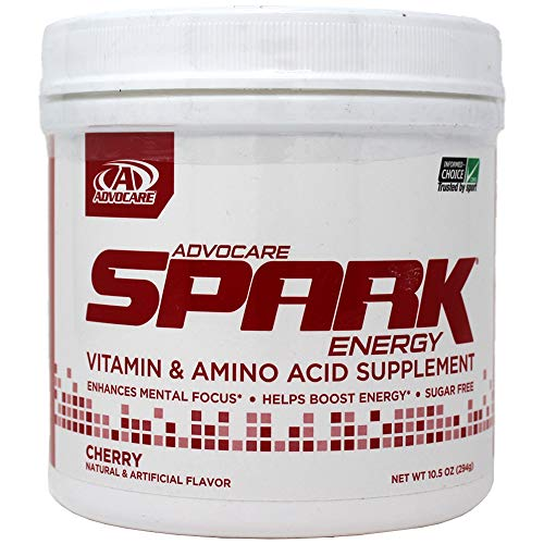 AdvoCare Spark CHERRY Energy Drink Canister 10.5 oz - Flavored Powder Mix in Tub Container for Fitness / Workout - Brand NEW Amino Acid and Vitamin Supplement