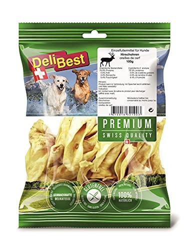 DeliBest Premium Hirschohren mit einer Spur Malz I Kauartikel für Hunde zur Unterstützung der Zahngesundheit I Hunde Kauartikel zu 100% natürlich ohne chemische Zusätze I leckere Hundesnacks 100 g