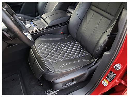 Funda de asiento de piel sintética negra con costuras blancas para Lancia Voyager OT408