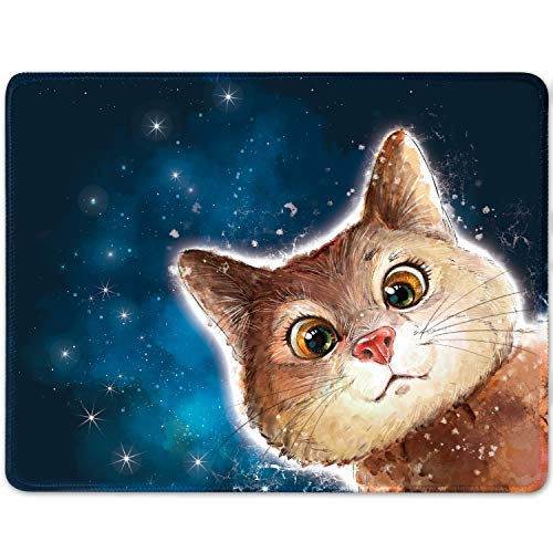 Cat Mouse Pad Blue Gaming Mouse Pad Cute Animal Mouse pad with Stitched Edge,Non-Slip Rubber Base,Colorful Mouse Pad for Computers, Laptop, Office ,Home,Gift,11x8.5 inch (Cat, Small)