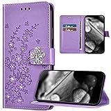 Étui de protection pour Xiaomi Redmi 8, motif fleur de prunier en relief, strass scintillants, portefeuille en cuir synthétique à rabat pour Xiaomi Redmi 8, violet