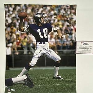 Autographed/Signed Fran Tarkenton HOF 86 Minnesota Vikings 16x20 Football Photo Fanatics COA