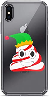 Candy Cane Poop Emoji Elf Hat Funny Christmas Anti-Scratch Shockproof Case for iPhone XR Pure
