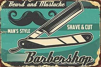 Barber Shop Hair Cut Store Vintage Barber Shop Vintage Metal Tin Sign Barber Shop Wall Art Decoration Poster Used for Home Bar Party Restaurant Cafe Outdoor 8x12inch