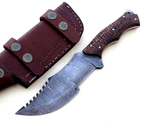 TR-2153, CUSTOM HANDMADE DAMASCUS STELL FULL TANG TRACKER KNIFE –BEUTIFULL ROSE WOOD HANDLE