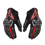 Dgtyui Guantes de Moto Guantes de Moto de Carreras para Hombre Guantes de Moto de Motocross Guantes Transpirables de Verano para Dedo Completo - Rojo XM