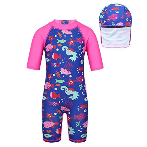 Inlzdz - Traje de baño con protección solar para niños y niñas con diseño de flamenco, protección solar UPF 50+