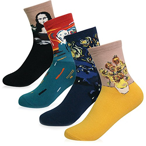 KONY Women's 4 Pairs Funny Famous Oil Painting Art Printed Casual Crew Socks, Artist