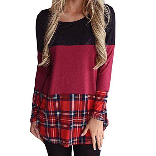 GWCSS Blouson À Manches Longues En Dames / Encolure Ronde En Dentelle T-Shirt Ladies Long Autumn Winter , Wine Red , M