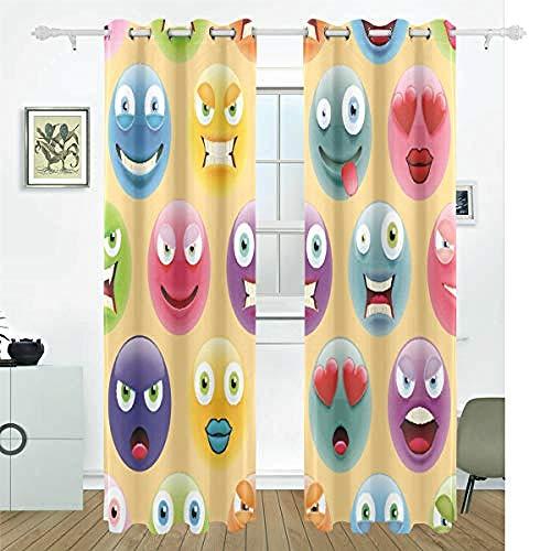 Giunuak Dormitorio 3D Habitación Infantil Cortinas Emoji De Color,100% Poliéster De Aislamiento Y Reducción De Ruido Hogar Ventana Dormitorio Decoraciones Cortina 150Wx166H Cm