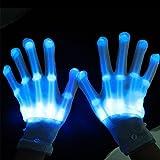 Dsaren Guantes de LED Iuminación Flashing Rave Guantes para Halloween, Navidad, Clubs y Fiesta de Baile (Azul)