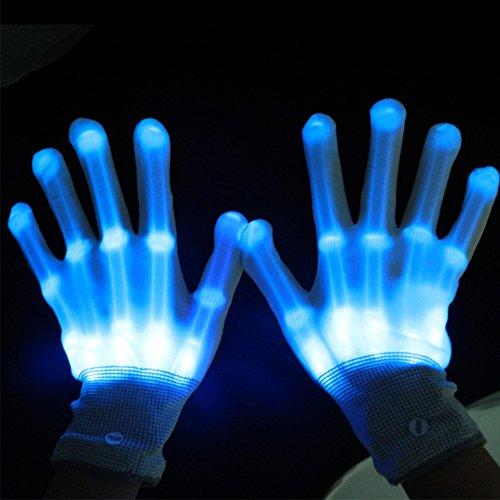 Dsaren LED Handschuhe Blinkt Bunte Handschuhe für Halloween, Weihnacht, Raves Party und Clubs, Spaßgeschenk (Blau)