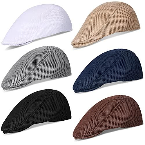 Geyoga 6 Pieces Men's Mesh Flat Cap Breathable Summer Newsboy Hat Cabbie Flat Cap