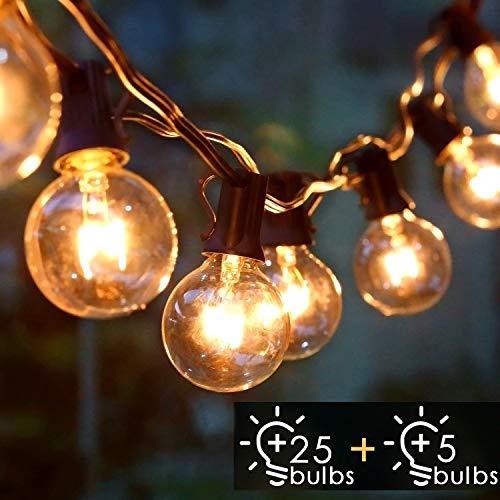 Albrillo Catene Luminose Esterno - 9.3M Light String con Lampadine G40 Bianche Calde 25+5 di Ricambio, Luci da Esterno Interno per Giardino, Terrazza, Balcone, IP44 Impermeabile, Base E12
