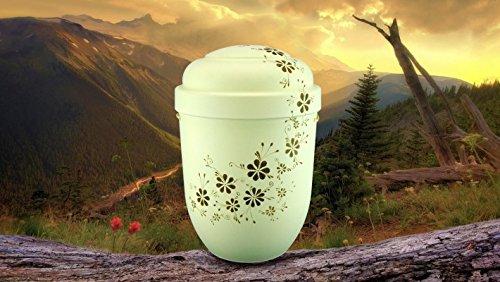 The Coffin Company Biologisch abbaubar Verbrennung Asche Urne–Erwachsene Größe–Floral Design–Vintage Creme & Mokka Blumen