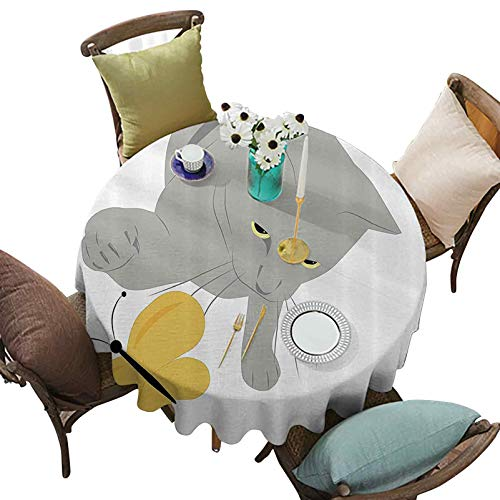 Round Tablecloth Cat Pet Feline Best Friend Playing with Spring Butterfly Print 63 Inch Round Table Cover for Dining Table, Buffet Parties Black Marigold and Grey