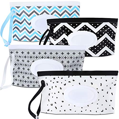 4 Pack Baby Wipe Dispenser,Portable Refillable Wipe Holder,Baby Wipes Container,Wipe Dispenser,Reusable Travel Wet Wipe Pouch(Geometric)