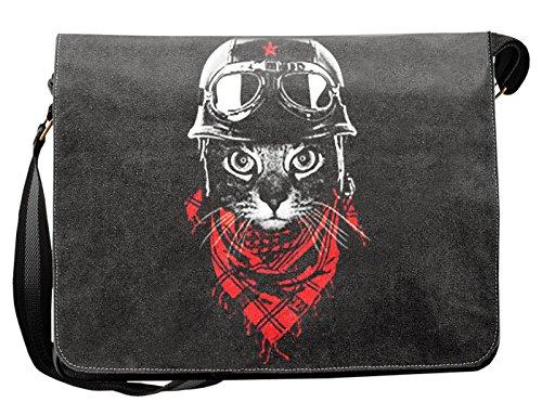 Umhängetasche Messenger Canvas Schultertasche Biker Katze robuste Tasche Katzenhalter Geschenk Idee Studenten Tasche Uni Büro Freizeit Arbeit Motorradfahrer Cat mit Jethelm und Brille Motiv :