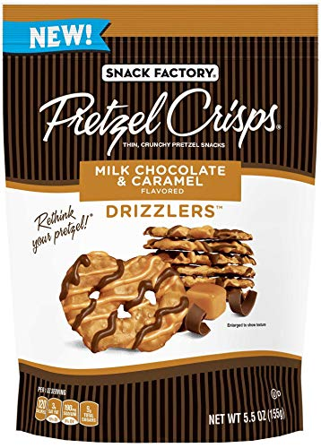 Pretzel Crisps Drizzlers Milk Chocolate Caramel Pretzel Snacks 55 Ounce  12 per case