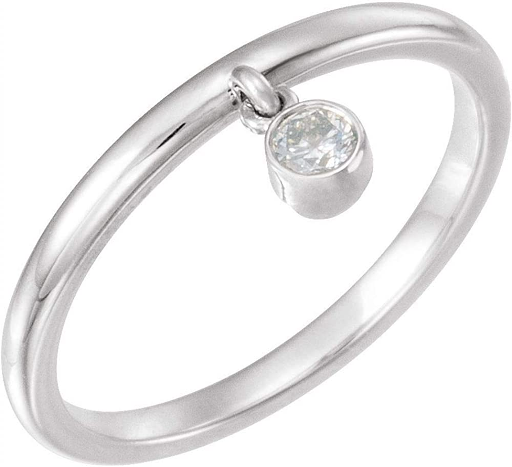 Solitaire 1/10 CT Diamond Fringe Ring Band (.10 Cttw) (Width = 7.5mm)