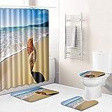 N/Z Alfombra de baño de 3 piezas para baño, cocina, dormitorio, sala de estar, alfombra eBay, Ocean 093, juego de 3 piezas de 50 cm x 80 cm + cortina de ducha de 180 cm x 180 cm.