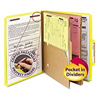 SMD14084 - Smead 14084 Yellow Pressboard Classification Folders with Pocket-Style Dividers and SafeSHIELD Fasteners by Smead