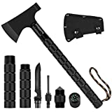 CASAVIDA Survival Hatchet Camping Axe Hunting Set, Throwing Axe with Hammer Sheath Whistle