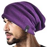 Mens Slouchy Beanie Knit Skull Cap Long Baggy Hip-hop Winter Summer Hat B305 (Purple)